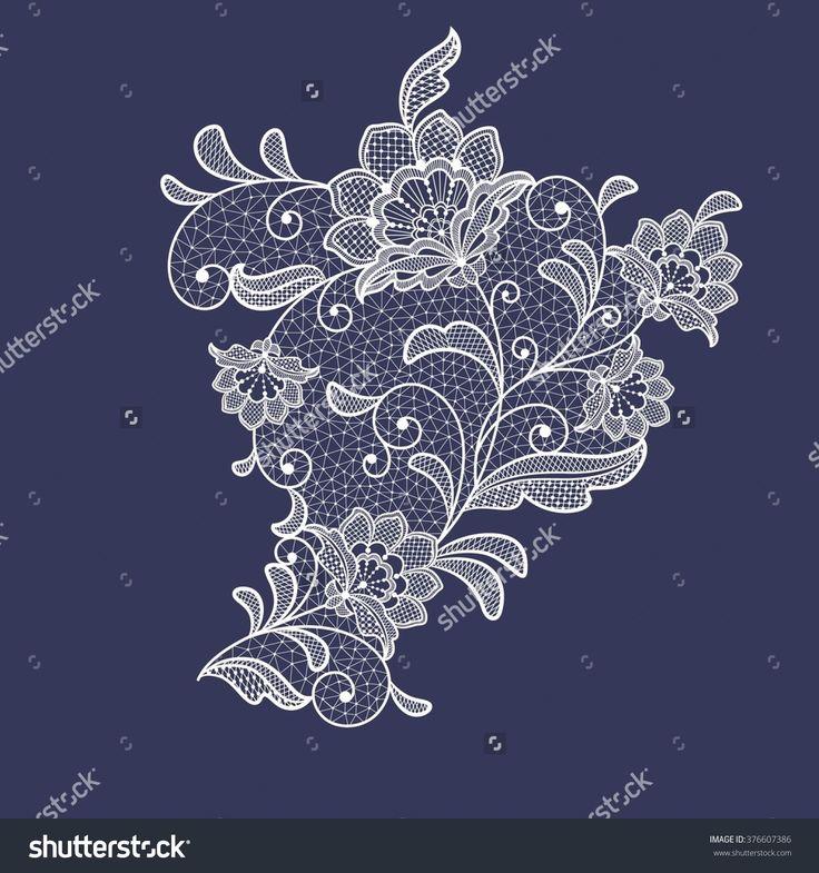 Lace Flowers Decoration Element Стоковая векторная иллюстрация 376607386 : Shutterstock