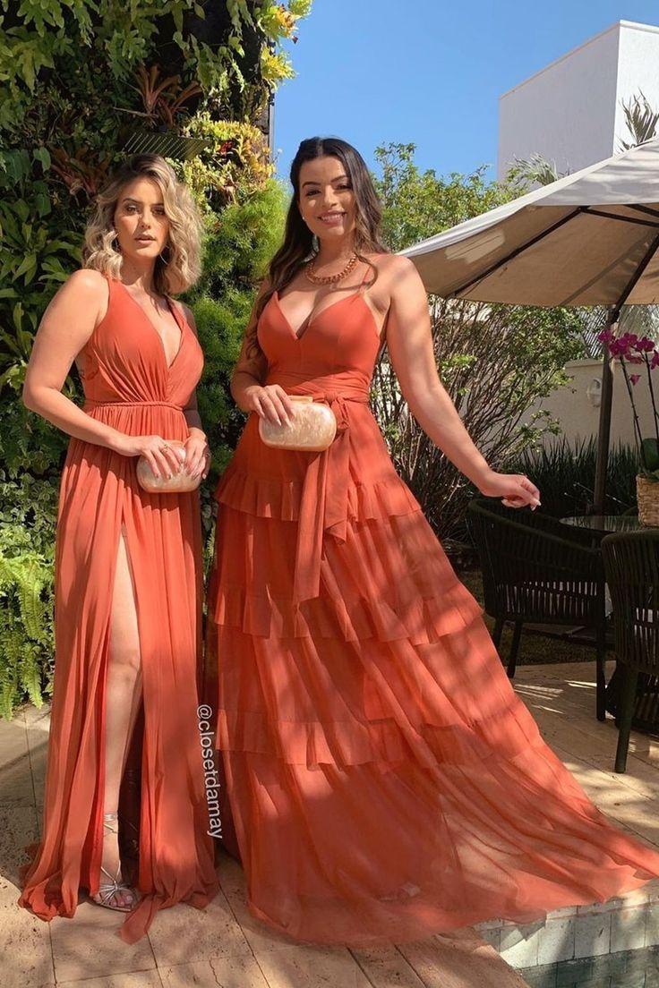 Vestido terracota: 50 modelos longos para madrinhas de casamento e convidadas em 2021 | Vestidos, Madrinhas de casamento, Vestidos de noiva princesa