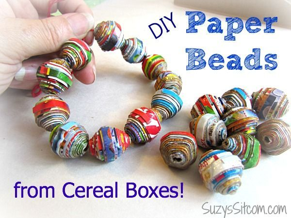 How to make pretty beads with cereal boxes!
