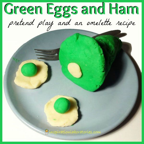 Pretend Play and an Omelette Recipe to go with Green Eggs and Ham by Dr. Seuss. This post is part of the Virtual Book Club for Kids blog hop. Lots of Dr. Seuss inspired ideas linked up!