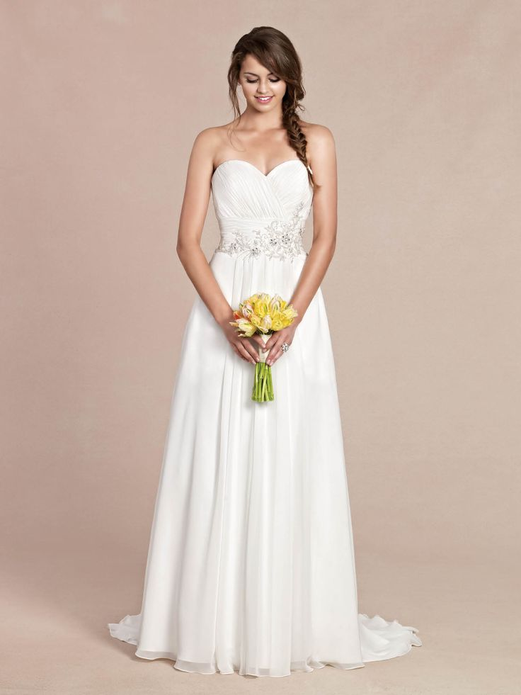 Cute Ella Rosa Gallery GA size Pleated Chiffon bodice with embrodered center piece Corset Bridal StyleBridal GownsWedding