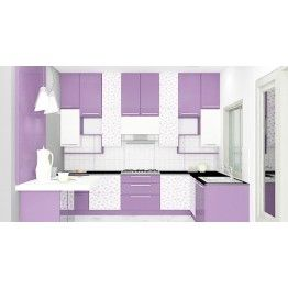 L-Shaped kitchen ensures great space management. The white and purple combination gives an attractive look to your kitchen. The color combination and adorable pattern make you spend most of your time in the kitchen by cooking for your beloved.  Consisting bottom cabinets, middle cabinet, loft and breakfast counter. All these units offer comfort space to place in your essentials as required. This kitchen gives you full of surprises with its well-crafted units and storage cabinets. Beautiful…