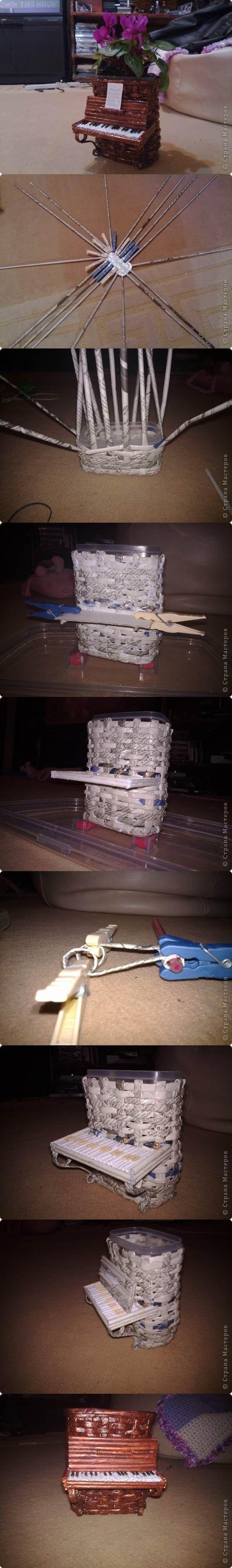 DIY Woven Paper Piano Flower Pot | iCreativeIdeas.com Follow Us on Facebook --> https://www.facebook.com/icreativeideas