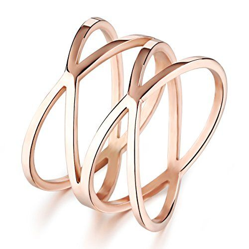 LOVE Beauties Women's Rose Gold Titanium Wedding Band Ring (Size Selectable)