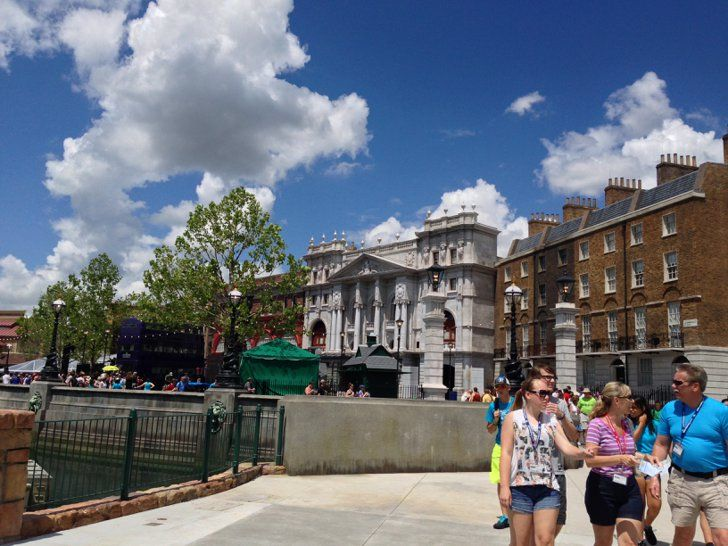Pin for Later: Get an Inside Look Into the Magic of Diagon Alley  This is a shot of London, where you can board the Hogwarts Express in King's Cross Station, check out the Knight Bus, and enter Diagon Alley.