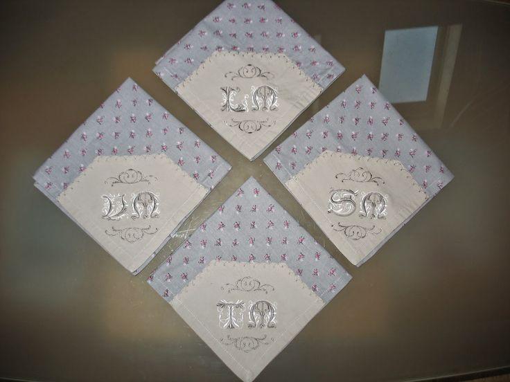 Tuto couture serviette de table brodée coins en onglet