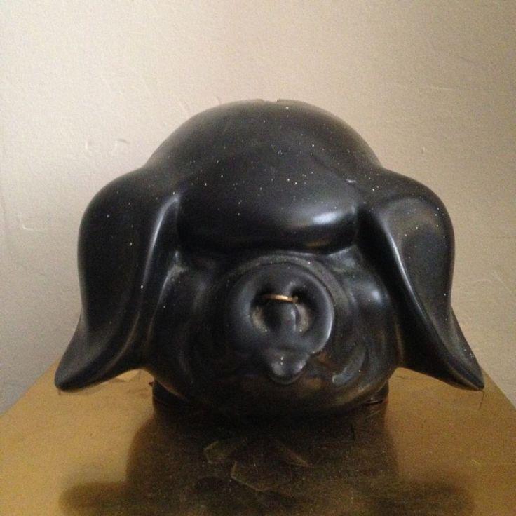 black pot bellied pottery piggy bank