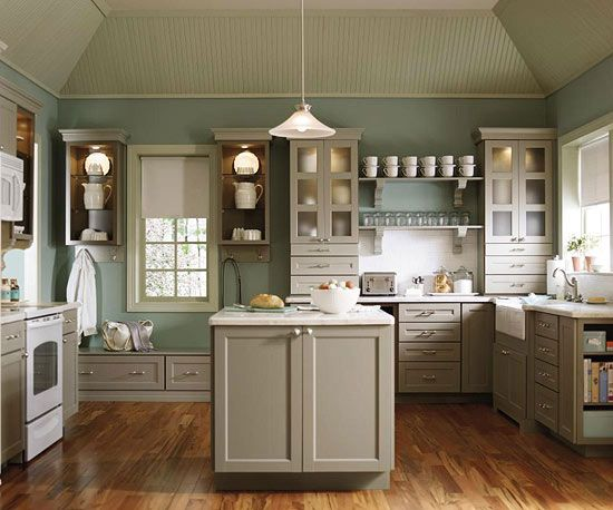 Love the wood floor and the painted cabinets!