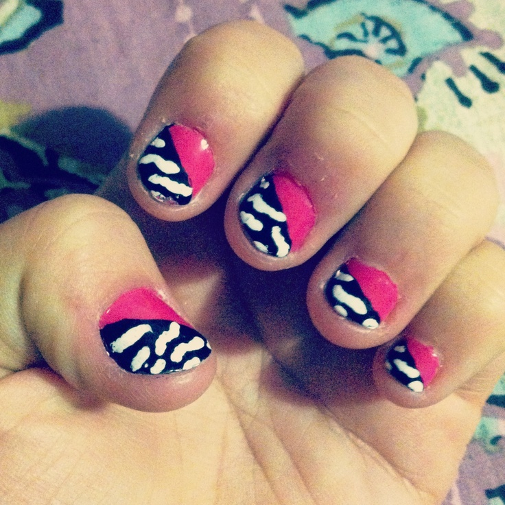 pink and black zebra nails nail designs pinterest