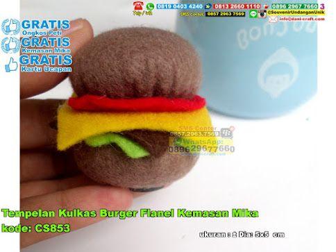 Tempelan Kulkas Burger Flanel Kemasan Mika Hub: 0895-2604-5767 (Telp/WA)  #  # # # # # # #souvenir #souvenirPernikahan