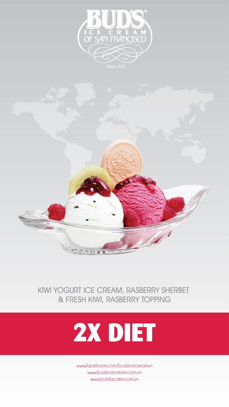 Lifestyle Sundaes - 2x Diet: Kiwi Yogurt & Raspberry Sherbet ice cream, fresh kiwi and raspberry topping