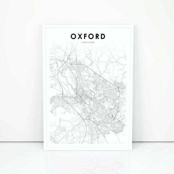 Map Of Uk Oxford.Oxford Map Print England United Kingdom Uk Map Art Poster City