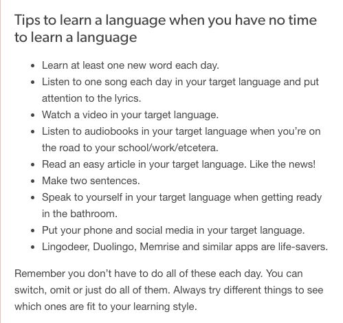 tips to learn a language when you have no time