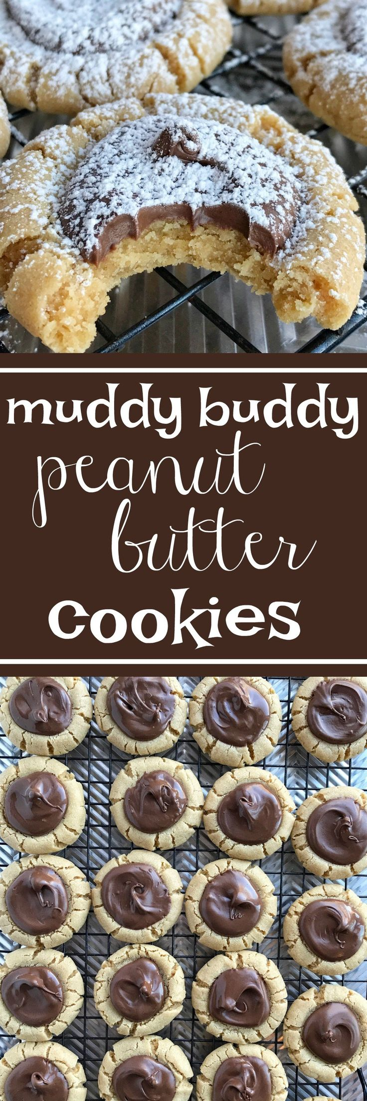 Muddy Buddy Peanut Butter Cookies   Your favorite snack made into a cookie! Muddy buddy peanut butter cookies are a soft & thick peanut butter cookie with a chocolate center, and dusted in powdered sugar. Perfect dessert or even better for a Christmas cookie plate. These may look hard but they are really very simple! www.togetherasfamily.com #christmascookies #peanutbuttercookies #peanutbutterrecipes #recipe