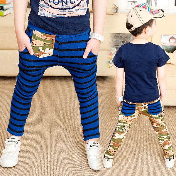 Мальчиков брюки 2016 весна и осень полосатый камуфляж лоскутное брюки ребенок свободного покроя брюки брюки для мальчиков 100% хлопка 12d-1