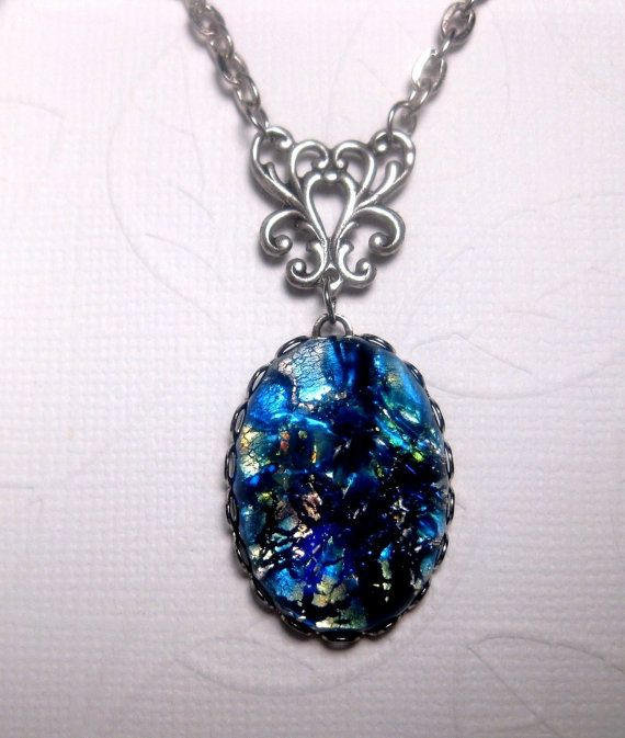 Blue Japanese Water Opal Necklace by FashionCrashJewelry