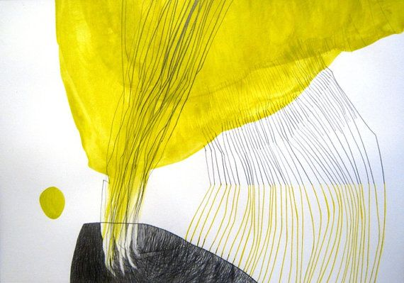 20''x28'' (50cm x 70cm) -acrylic and pencil - Original abstract painting on paper -  Yellow Day by Sabina Drotar