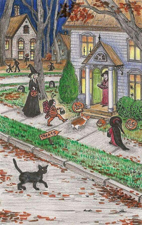 Cozy Halloween town full of trick or treaters Halloween