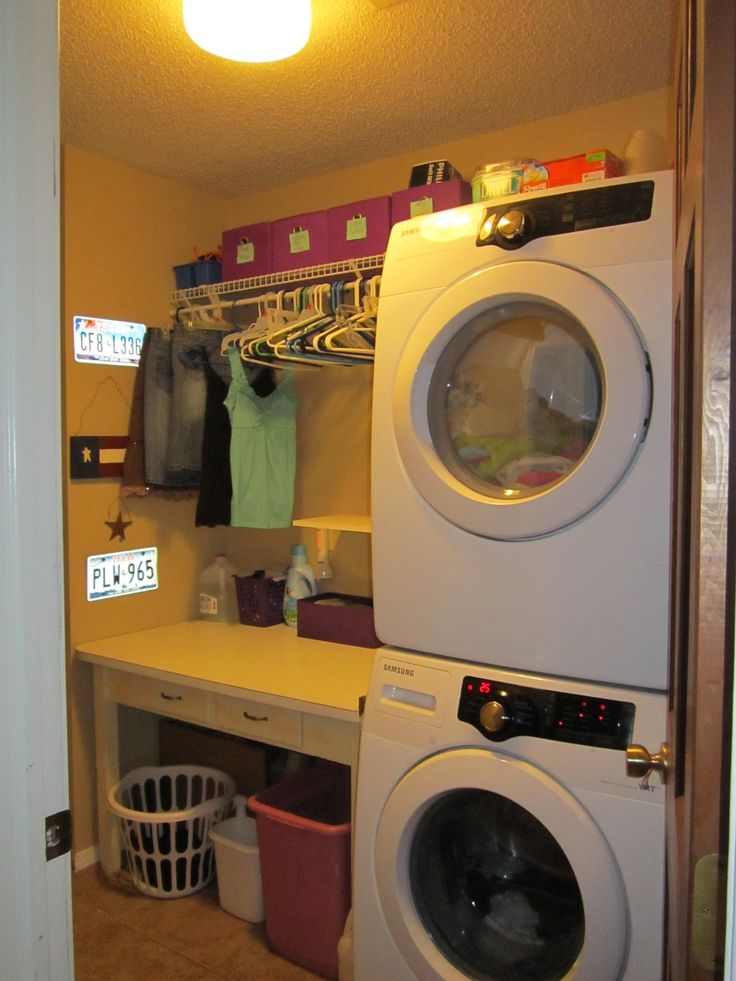 My laundry room is only 5 x 9ft.  I had to utilize every inch of it.  I put a folding table with drawers, stackable washer & dryer, shelves and tried to use up the walls as much as I could.  I was amazed at how much I was able to fit in it!