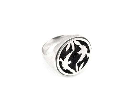 Sterling silver ring with bird detail and by NatashaGjewellery, $130.00