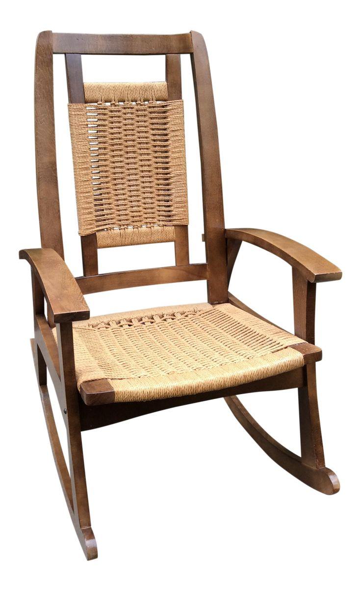 Attractive Hans Wegner Style Mid Century Modern Woven Rope Rocking Chair