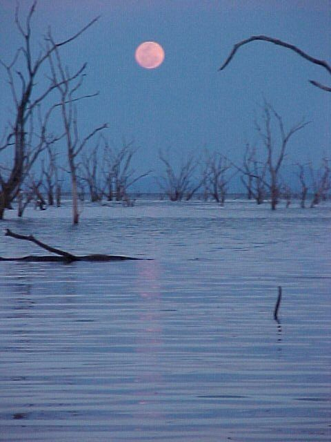 Moon rising over Lake Kariba, Zimbabwe