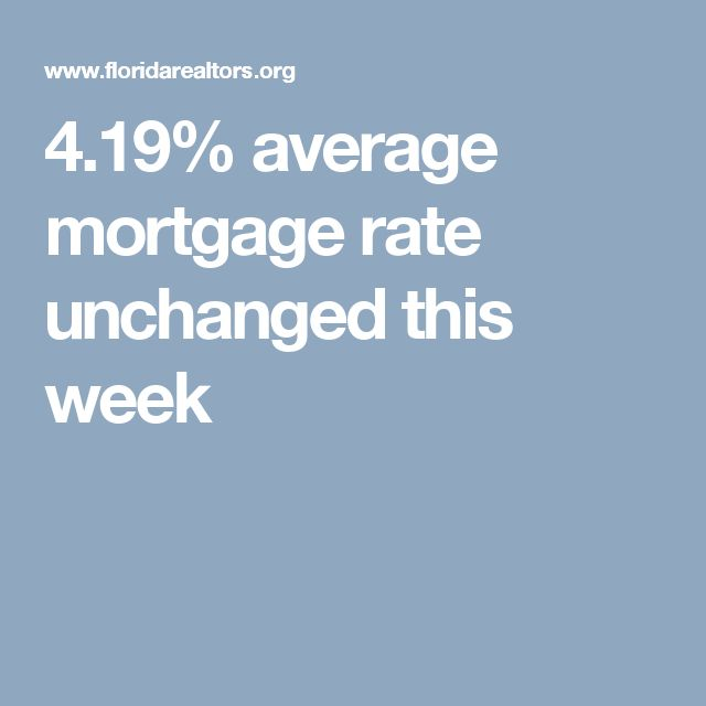 4.19% average mortgage rate unchanged this week