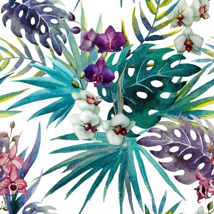 Orchid Hibiscus Leaves Pattern Watercolor Sticker Pixers We