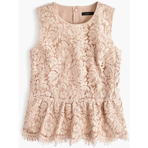 J.Crew Lace Peplum Top ($115) ❤ liked on Polyvore featuring tops, holiday party tops, lace top, pink going out tops, special occasion tops and j crew tops