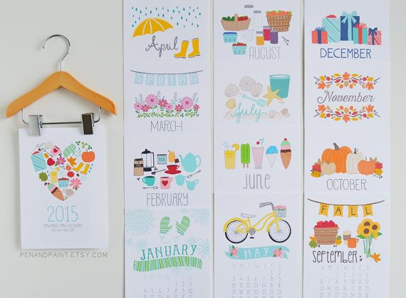 2015 mini calendario con suspensión de madera por penandpaint