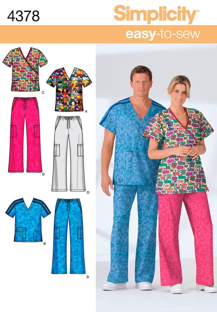 Misses/Men's Scrub Pattern (Simplicity) ~~~Totally going to make Disney scrubs for nursing school.