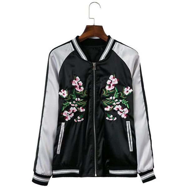 Yoins Black Splicing Embroidery Pattern Bomber Jacket ($37) ❤ liked on Polyvore featuring outerwear, jackets, black, patterned bomber jacket, pattern jacket, cold weather jackets, zipper jacket and blouson jacket