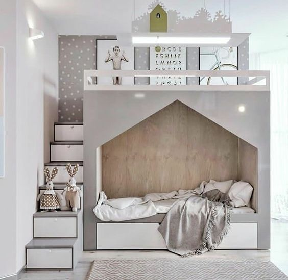"""787 curtidas, 6 comentários - My Bella Invest (@mybellainvest) no Instagram: """"This is how to design a children's bedroom  the cute bed can double as a bunk bed and a…"""""""