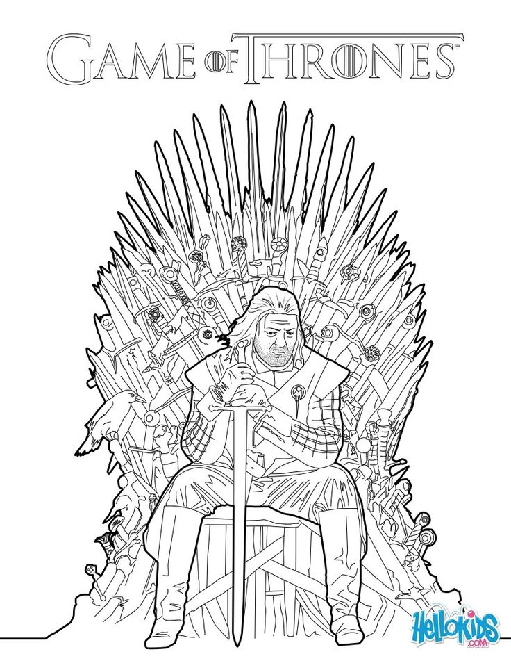 Game Of Thrones Ned Stark Sitting On The Iron Throne Coloring Page Find Your Favorite Hellokids