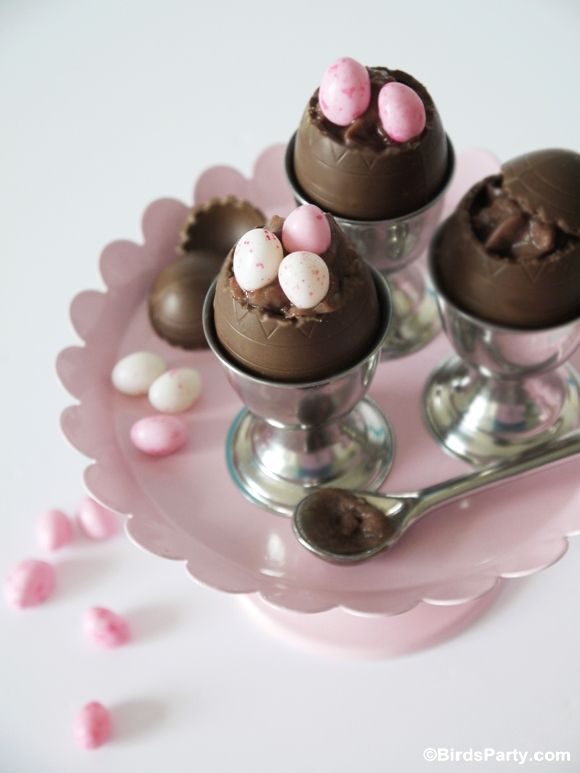 Easy Easter Chocolate Mousse in Chocolate Egg Shells! by Bird's Party