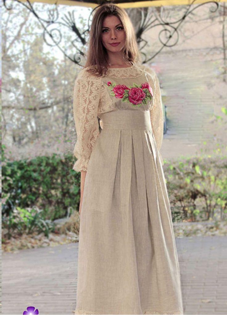 Платье из натурального льна с вышивкой ПЛ-770042
