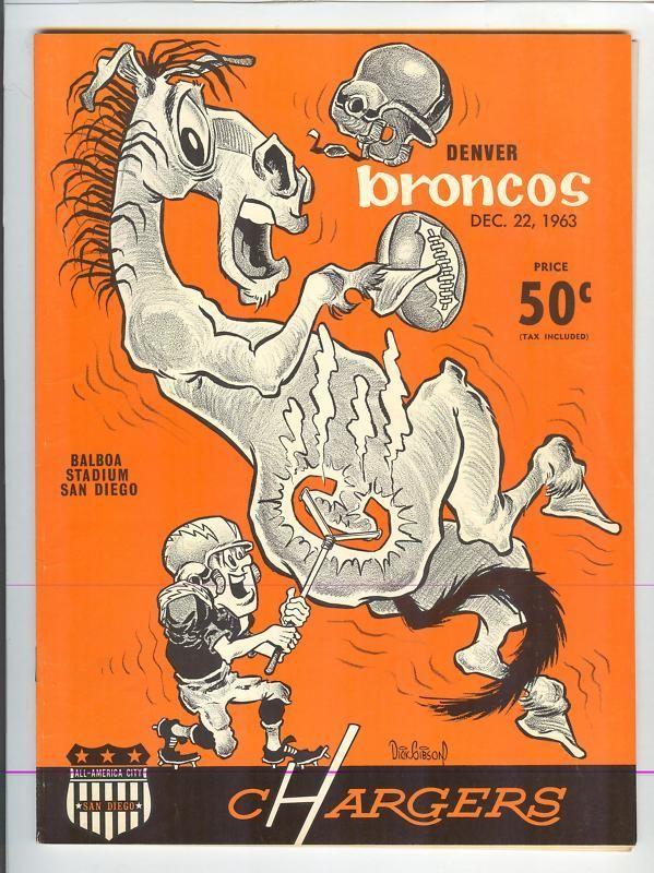 1963 AFL PROGRAM SAN DIEGO CHARGERS vs. DENVER BRONCOS, 12/22/63