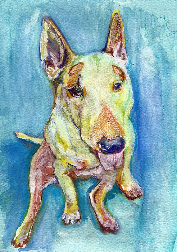 English Bull terrier Dog Painting, Art print, Dog portrait, English bull wall art, English Bull watercolor picture, bull… #dogs #etsy #art