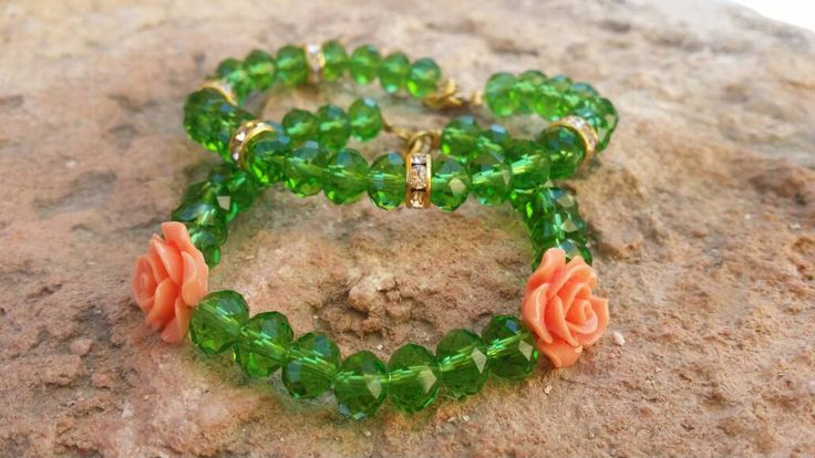 Forest green bracelet glass stones with fimo rose or gold plated washers summer gift for woman by FsMade on Etsy