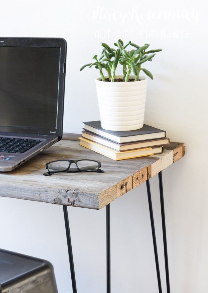 reclaimed wood desk with hairpin legs                                                                                                                                                     More
