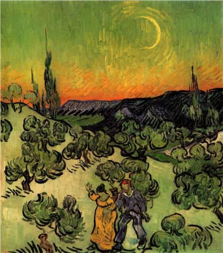 Landscape with Couple Walking and Crescent Moon - Vincent van Gogh