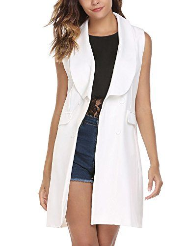 a41972cd0150df Elesol Women s Sleeveless Open Front Trench Coat Cardigan Loose Suit Vest  with Pockets White L