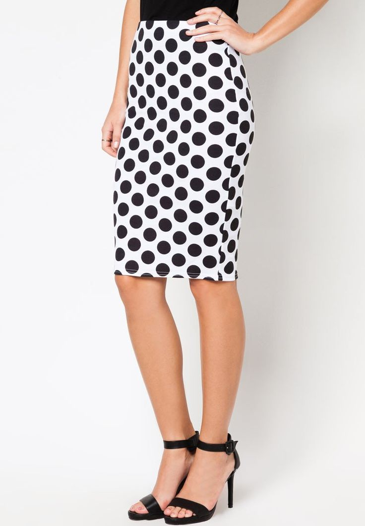 Ec Mono Spot Pencil polka dots by New Look. Trendy and latest collection from New Look. Polka Dot Pencil Skirt with hugging-cut mixed with retro polka dots. Switch up your usual look now! Made of combination of polyester material. Detail stitching. http://www.zocko.com/z/JFbcU