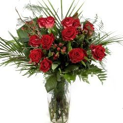 Red Rose Flower Bouquet 12 or 24 Stems Hand Tied