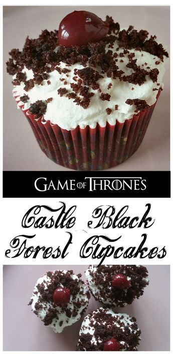 Castle Black Forest Cupcakes - These sweet, boozy cakes are perfect for your Game of Thrones premiere party, or for any day of the week!