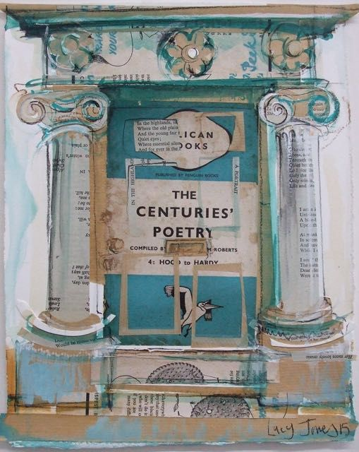 Blue Pelican Doorway, St Andrews Collage with Mixed Media (Collage includes 'The Centuries' Poetry', Penguin Books, 1938) Made for the exhibition at The Byre Theatre, St Andrews as artist in residence for the StAnza poetry festival.