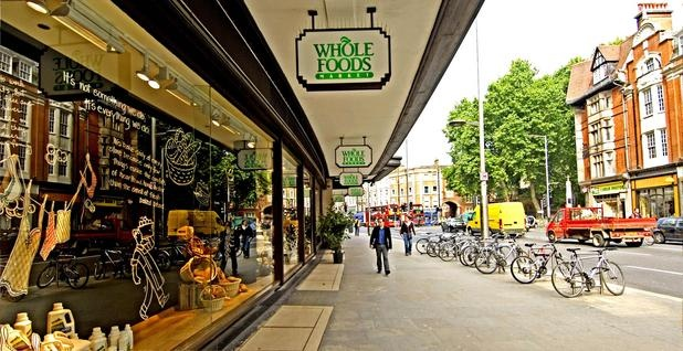 Whole Foods in Kensington, London.  It is 3 stories tall and we stayed about 2 blocks from it.  It was nice to grab an inexpensive meal there as the entire 3rd floor was sections of different food styles, beer, and wine available for sit down meals.