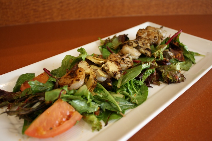 Shrimp & Artichoke Skewer- Served on a rosemary skewer with mixed greens