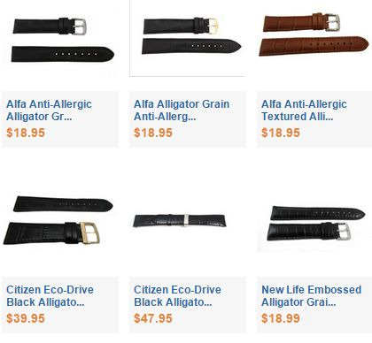 Alligator Grain Leather Watch Bands