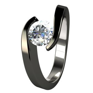 Chloe Diamond Black titanium ring is elegant and trendy.  Your diamond or gemstone appears to float in a flowing wave.  We offer a companion to our Chloe, to complete this wedding set.